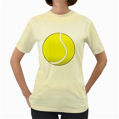Tennis Ball Ball Sport Fitness Women s Yellow T-Shirt