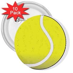 Tennis Ball Ball Sport Fitness 3  Buttons (10 pack)
