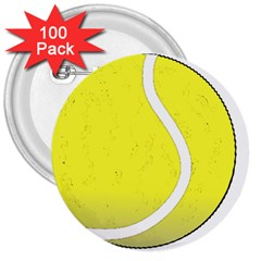 Tennis Ball Ball Sport Fitness 3  Buttons (100 Pack)