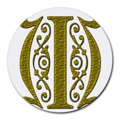 Gold Scroll Design Ornate Ornament Round Mousepads