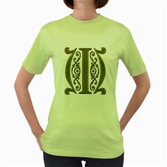 Gold Scroll Design Ornate Ornament Women s Green T-Shirt
