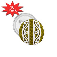 Gold Scroll Design Ornate Ornament 1 75  Buttons (10 Pack)