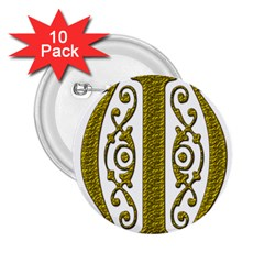 Gold Scroll Design Ornate Ornament 2 25  Buttons (10 Pack)