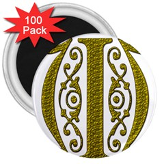 Gold Scroll Design Ornate Ornament 3  Magnets (100 Pack)