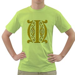 Gold Scroll Design Ornate Ornament Green T Shirt