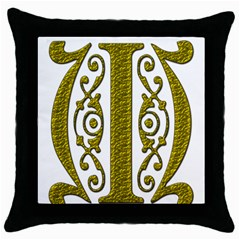 Gold Scroll Design Ornate Ornament Throw Pillow Case (black)