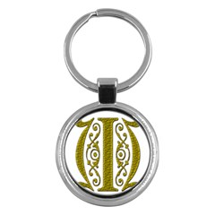 Gold Scroll Design Ornate Ornament Key Chains (round)