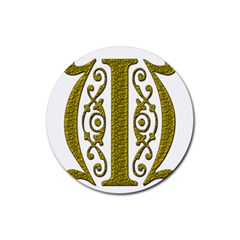 Gold Scroll Design Ornate Ornament Rubber Round Coaster (4 Pack)
