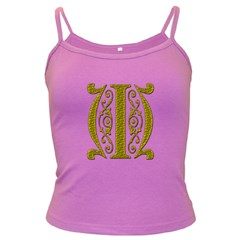 Gold Scroll Design Ornate Ornament Dark Spaghetti Tank