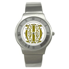 Gold Scroll Design Ornate Ornament Stainless Steel Watch