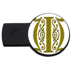 Gold Scroll Design Ornate Ornament Usb Flash Drive Round (4 Gb)