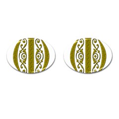 Gold Scroll Design Ornate Ornament Cufflinks (Oval)