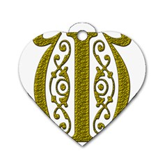Gold Scroll Design Ornate Ornament Dog Tag Heart (Two Sides)
