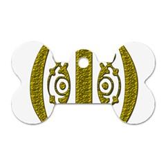 Gold Scroll Design Ornate Ornament Dog Tag Bone (Two Sides)