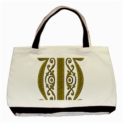 Gold Scroll Design Ornate Ornament Basic Tote Bag (Two Sides)