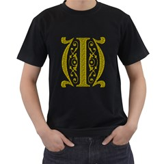 Gold Scroll Design Ornate Ornament Men s T-Shirt (Black)