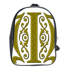 Gold Scroll Design Ornate Ornament School Bags(Large)