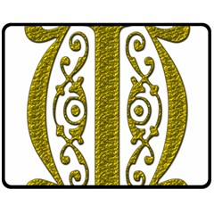 Gold Scroll Design Ornate Ornament Fleece Blanket (medium)