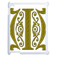Gold Scroll Design Ornate Ornament Apple iPad 2 Case (White)
