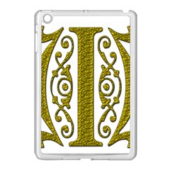 Gold Scroll Design Ornate Ornament Apple iPad Mini Case (White)