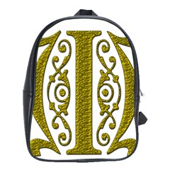 Gold Scroll Design Ornate Ornament School Bags (XL)