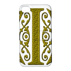 Gold Scroll Design Ornate Ornament Apple iPhone 4/4S Hardshell Case with Stand