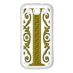 Gold Scroll Design Ornate Ornament Samsung Galaxy S3 Back Case (White)
