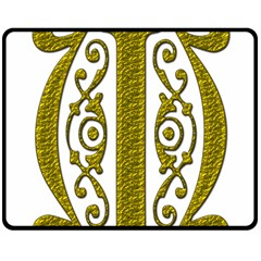 Gold Scroll Design Ornate Ornament Double Sided Fleece Blanket (medium)