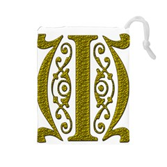 Gold Scroll Design Ornate Ornament Drawstring Pouches (large)