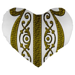Gold Scroll Design Ornate Ornament Large 19  Premium Flano Heart Shape Cushions