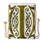 Gold Scroll Design Ornate Ornament Drawstring Bag (Large) Front