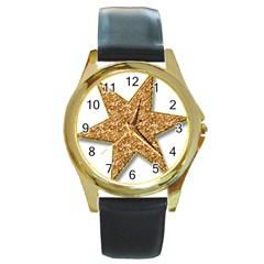 Star Glitter Round Gold Metal Watch