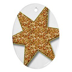 Star Glitter Oval Ornament (two Sides)