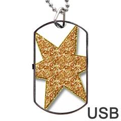 Star Glitter Dog Tag USB Flash (One Side)