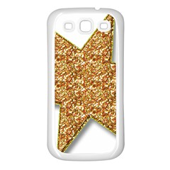 Star Glitter Samsung Galaxy S3 Back Case (White)