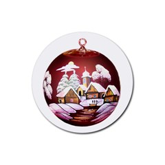 Christmas Decor Christmas Ornaments Rubber Round Coaster (4 Pack)