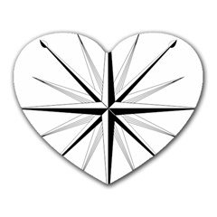 Compase Star Rose Black White Heart Mousepads