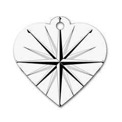 Compase Star Rose Black White Dog Tag Heart (two Sides)