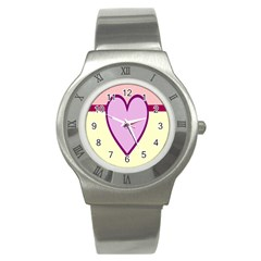 Cute Gender Gendercute Flags Love Heart Line Valentine Stainless Steel Watch