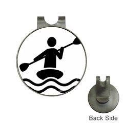 Cropped Kayak Graphic Race Paddle Black Water Sea Wave Beach Hat Clips With Golf Markers