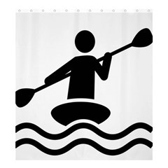 Cropped Kayak Graphic Race Paddle Black Water Sea Wave Beach Shower Curtain 66  X 72  (large)