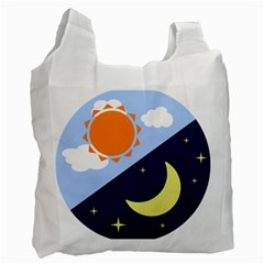 Day Night Moon Stars Cloud Stars Recycle Bag (one Side)