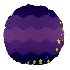 Glimragender Flags Wave Waves Chevron Purple Blue Star Yellow Space Large 18  Premium Flano Round Cushions