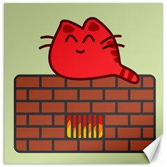 Happy Cat Fire Animals Cute Red Canvas 20  X 20