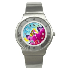 Fabric Rainbow Stainless Steel Watch