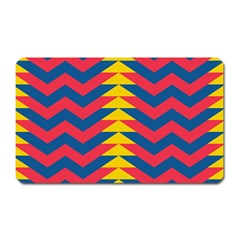 Lllustration Geometric Red Blue Yellow Chevron Wave Line Magnet (rectangular)
