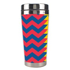 Lllustration Geometric Red Blue Yellow Chevron Wave Line Stainless Steel Travel Tumblers
