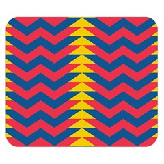 Lllustration Geometric Red Blue Yellow Chevron Wave Line Double Sided Flano Blanket (small)