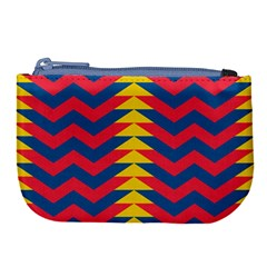 Lllustration Geometric Red Blue Yellow Chevron Wave Line Large Coin Purse