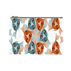 Make Tessellation Fish Tessellation Blue White Cosmetic Bag (large)